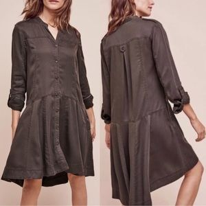 Anthropologie Holding Horse Shirt Dress Brown